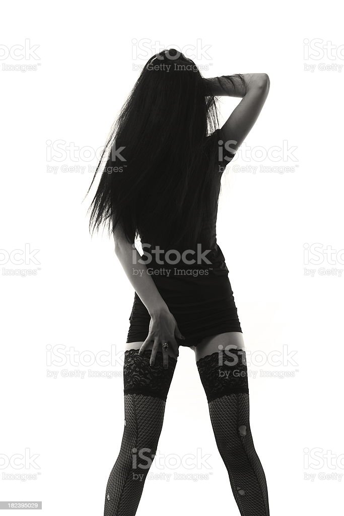 Silhouette of Dancing Girl stock photo