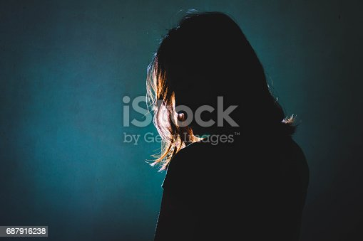 istock silhouette of depress woman standing in the dark with light shine behind 687916238