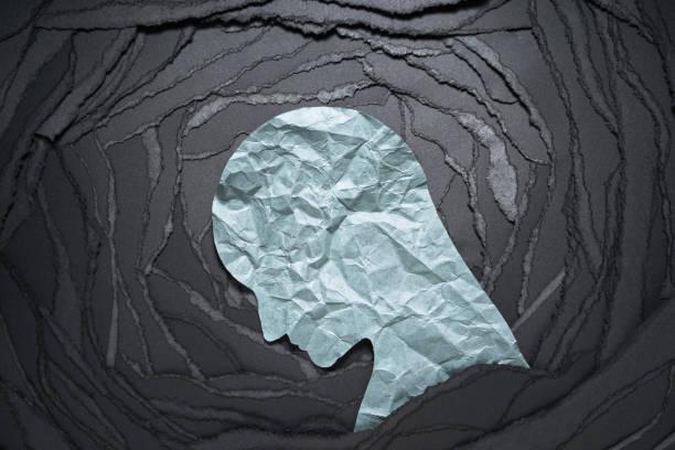 silhouette der depression und angst person kopf. - depression stock-fotos und bilder