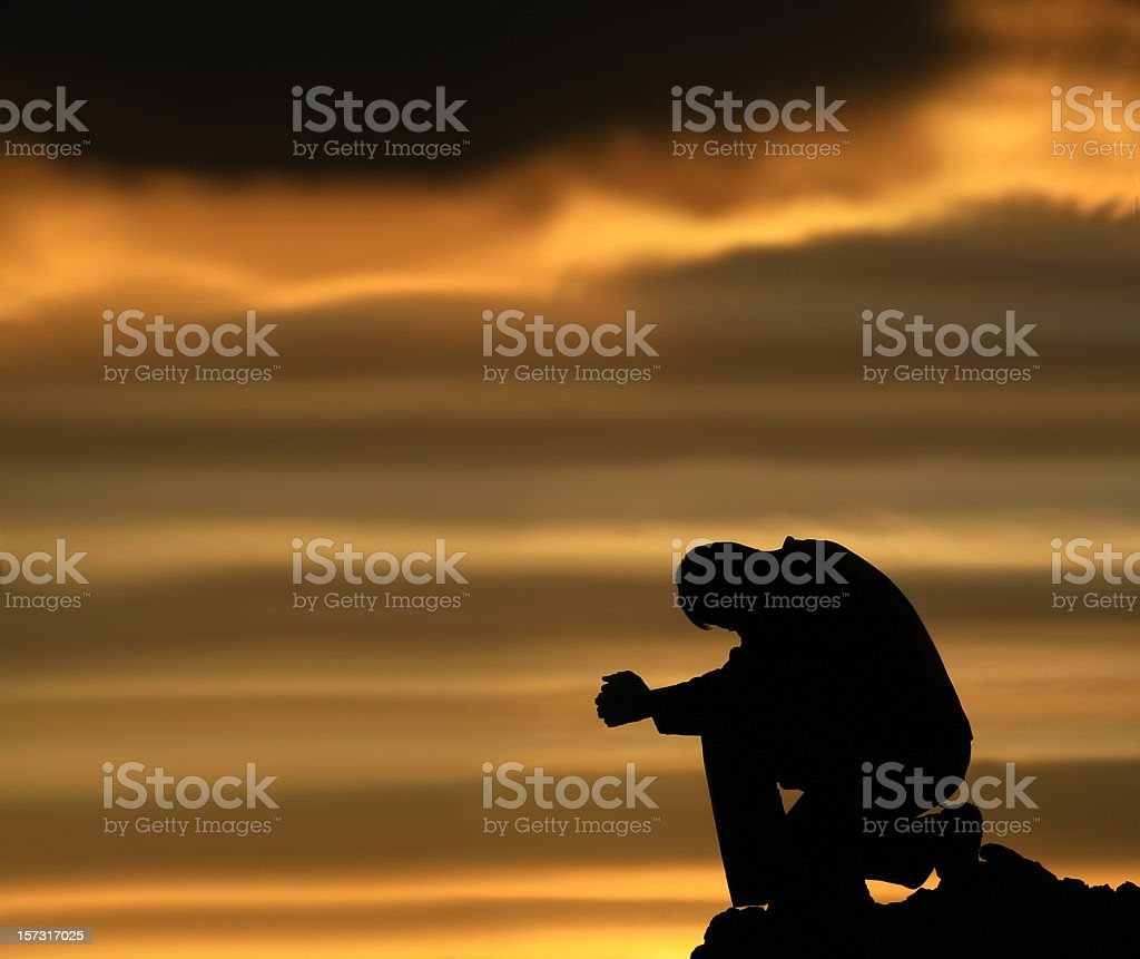 Silhouette of Depressed Man Contemplating Life royalty-free stock photo