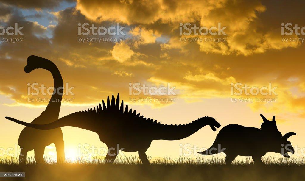 Silhouette of dinosaurs. stock photo
