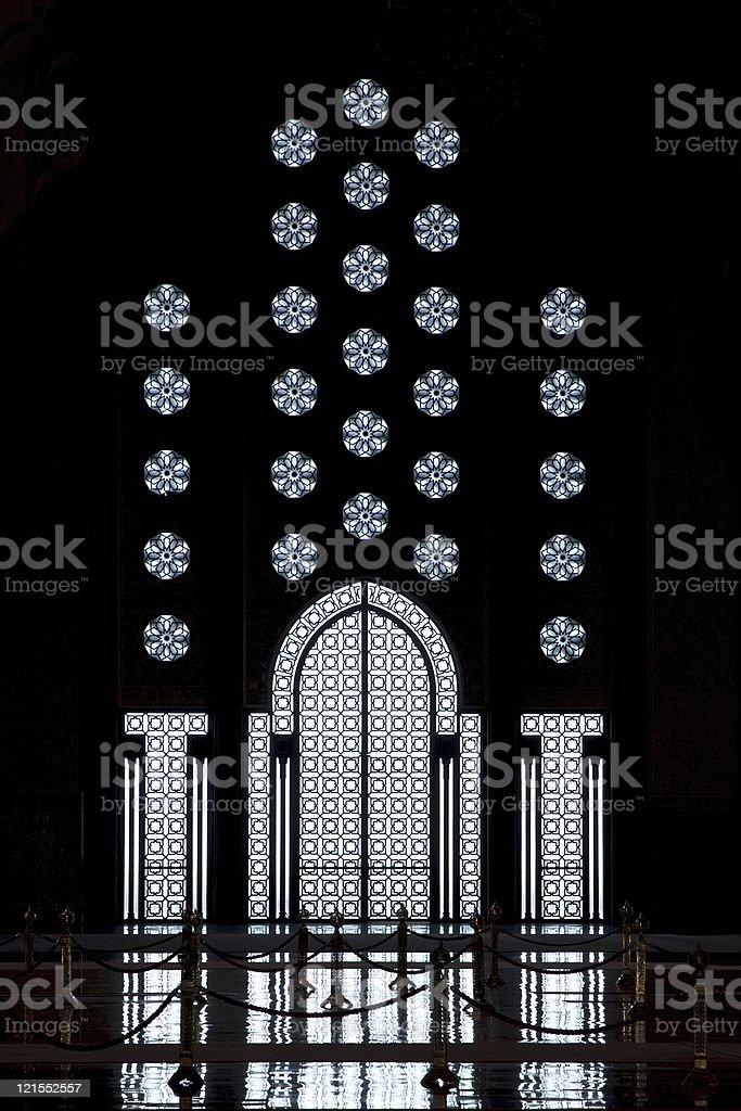 silhouette of door and window, King Hassan II Mosque, Casablanca royalty-free stock photo