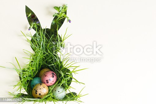 922843504 istock photo Silhouette of easter rabbit on paper with green grass and colorful egg abstract background 1139611563