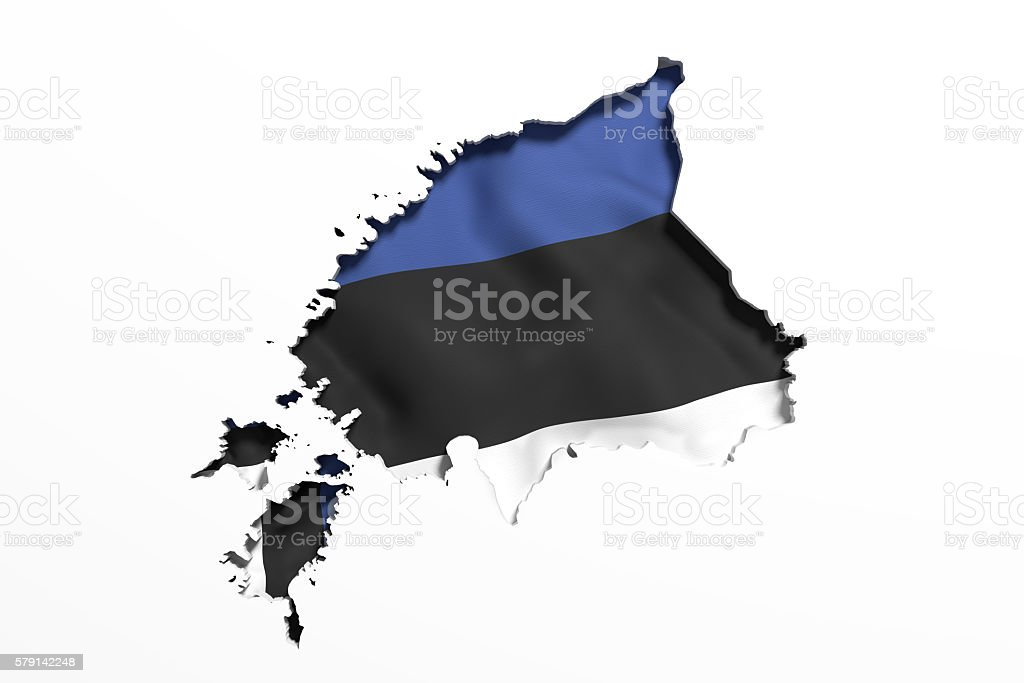 Silhouette of  Estonia map with flag stock photo