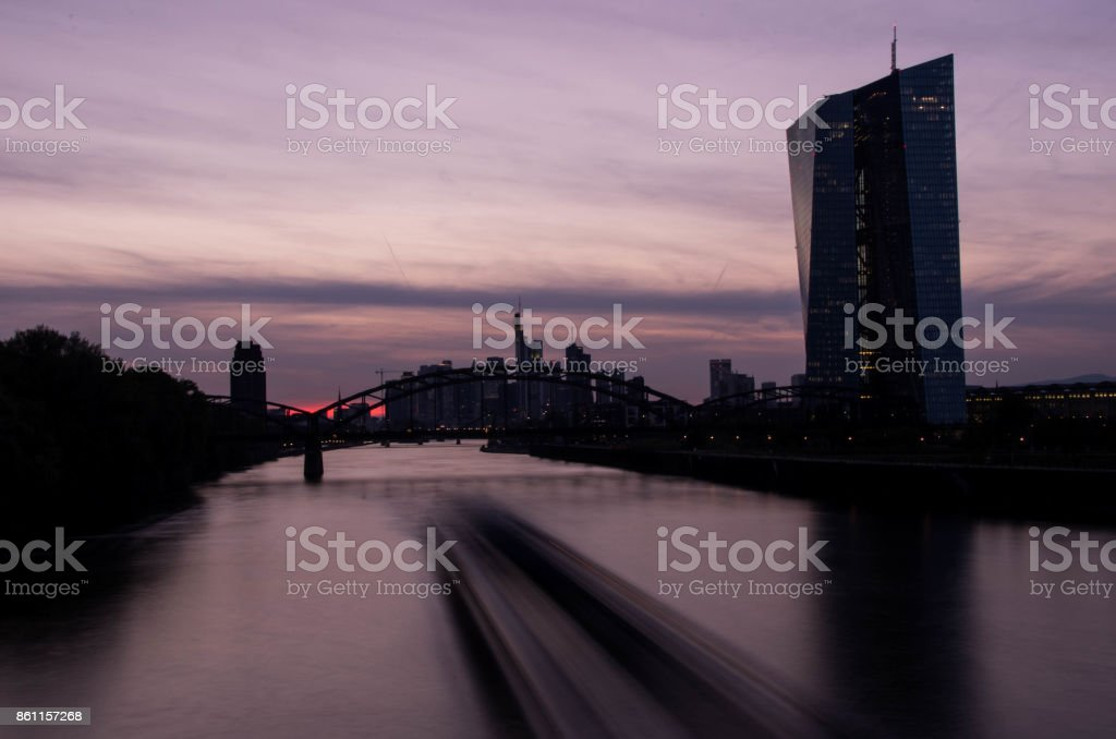 Silhouette of European Central Bank in Frankfurt am Main stock photo