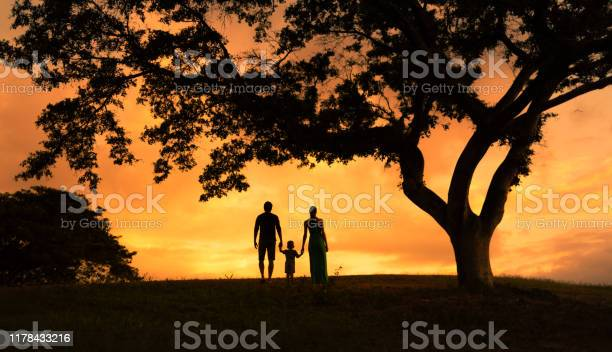 Photo of Silhouette of family holding hands walking in the park at sunset. Family lifestyle.