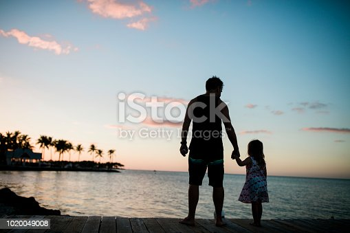 Silhouette of father and daughter on a dock at sunset