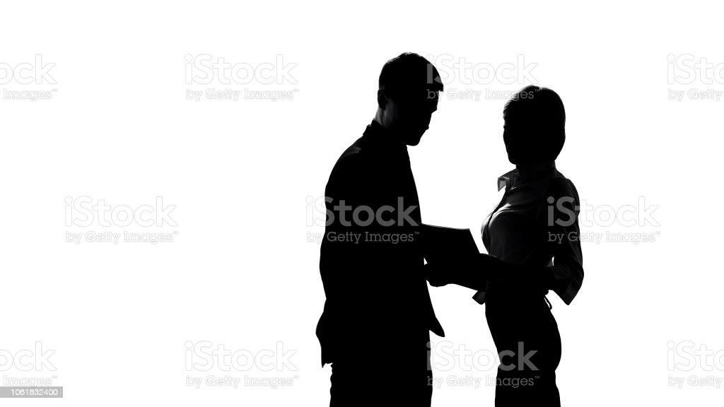Silhouette Of Female Director Discussing Business Plan With Manager In  Office Stock Photo - Download Image Now