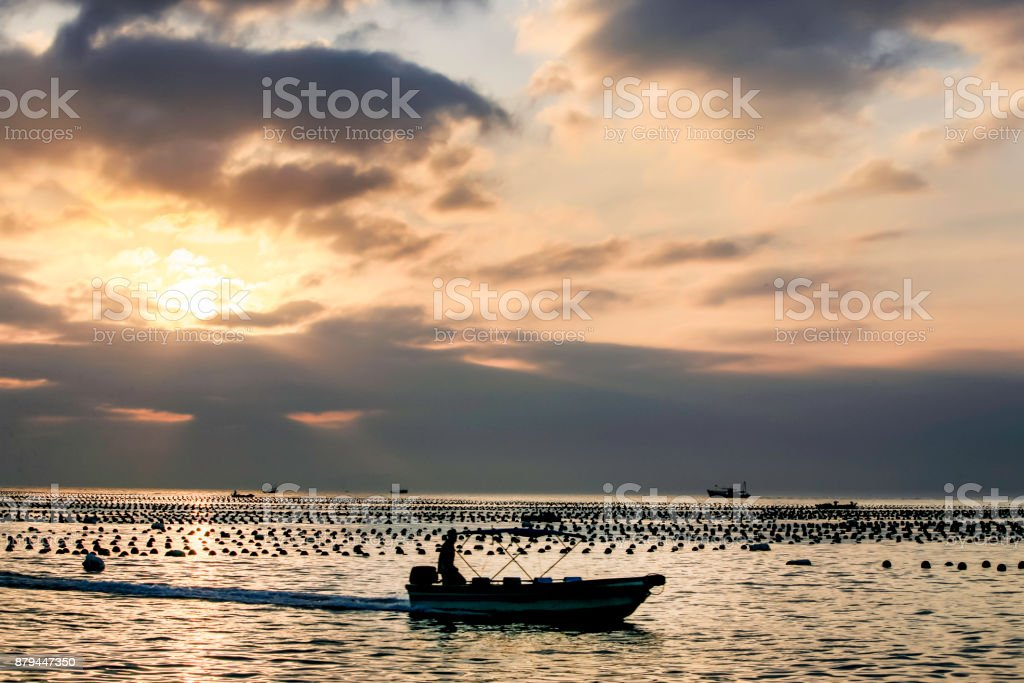Silhouette of fisherman on boat royalty-free stock photo