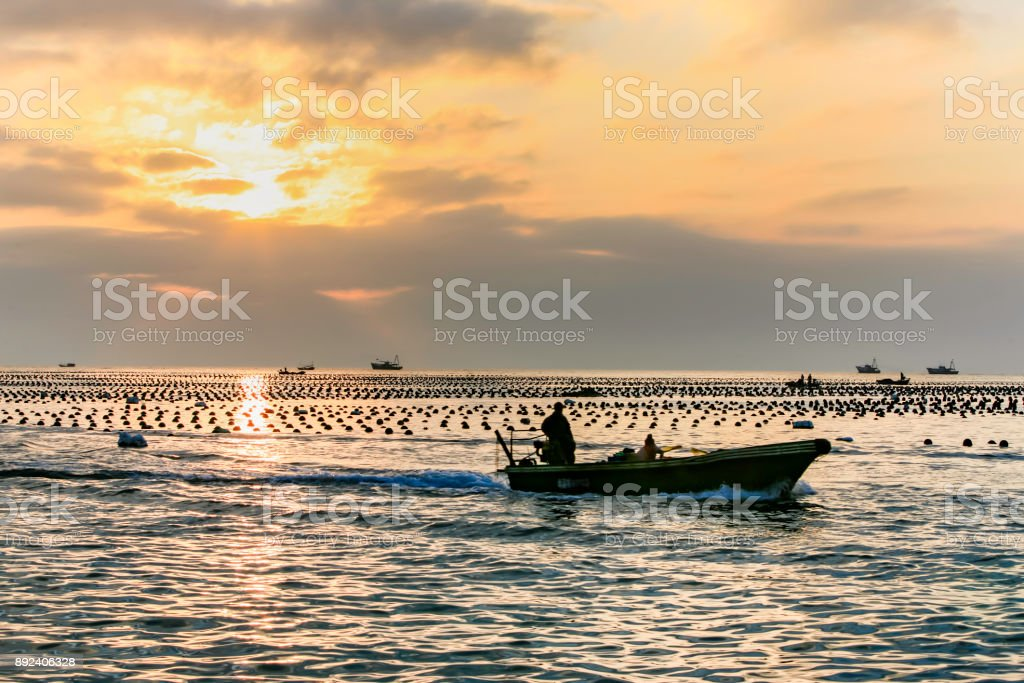 Silhouette of fisherman on boat stock photo