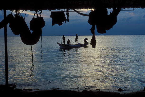 silueta de los pescadores en bote en sunrise - maracaibo fotografías e imágenes de stock