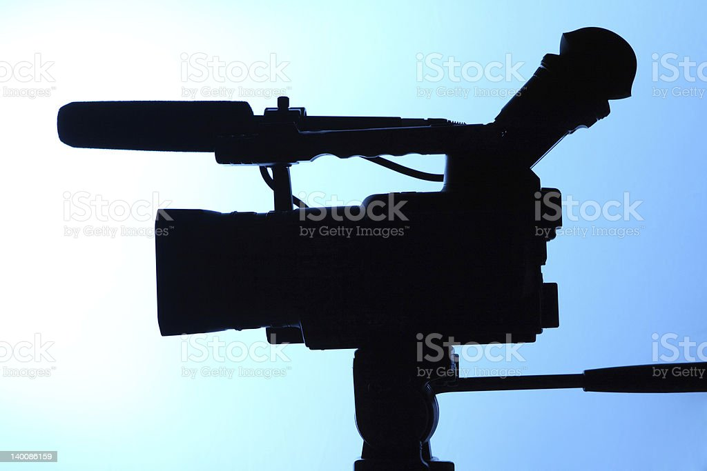 silhouette of full HD camcorder stock photo