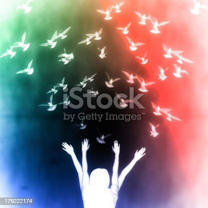 istock Silhouette of girl and dove 179222174