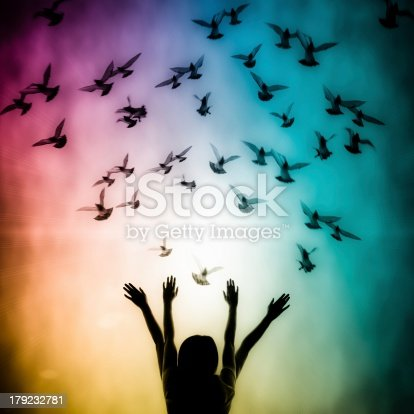 istock Silhouette of girl and dove 179232781