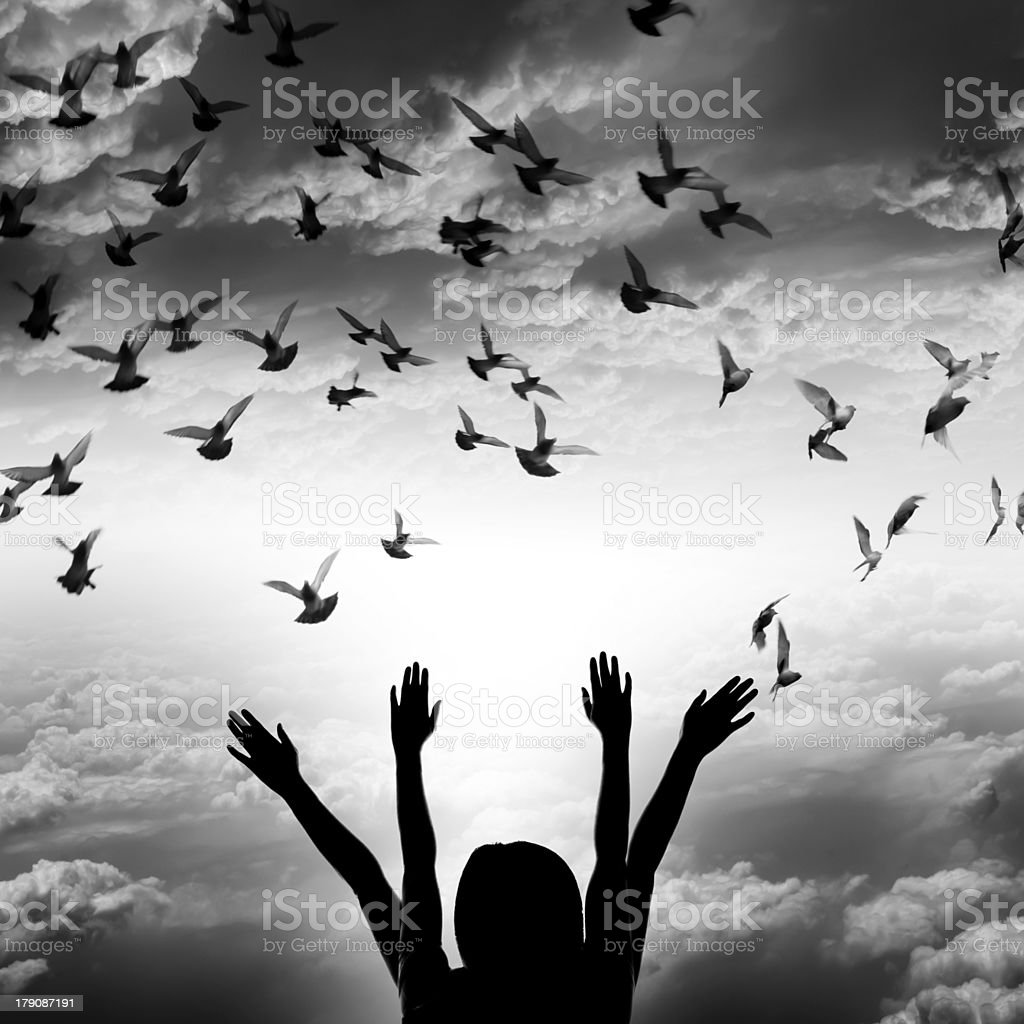 Silhouette of girl and flying dove on sky background, royalty-free stock photo