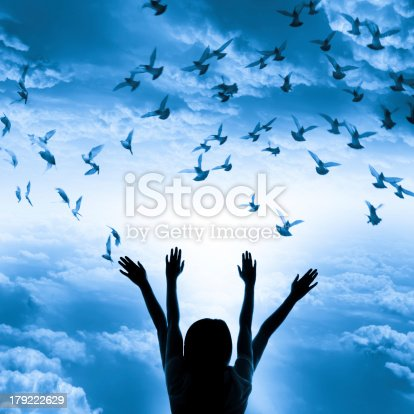 istock Silhouette of girl and flying dove on sky background, 179222629