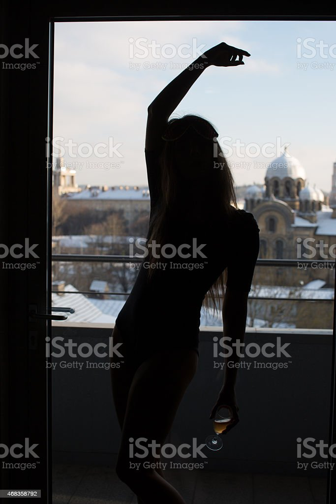 silhouette of girl dancing royalty-free stock photo
