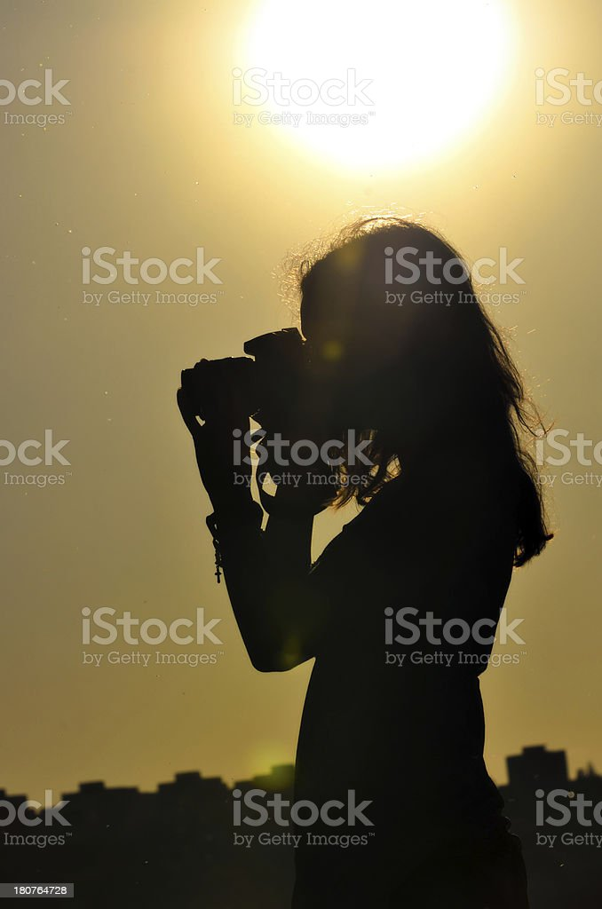 silhouette of girl in shooting time royalty-free stock photo