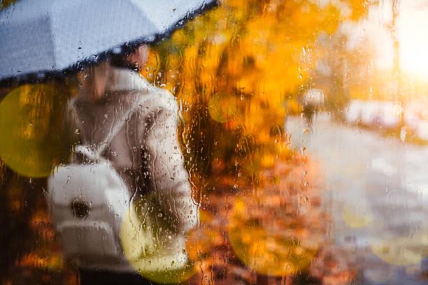 silhouette der mädchen tragen fliegerjacke mit regenschirm stehen hinter dem fenster bedeckt mit regentropfen im goldenen herbst. hinterleuchtete sonnenuntergang sonne strahl fackeln nach nassem regenwetter - wettervorhersage deutschland stock-fotos und bilder