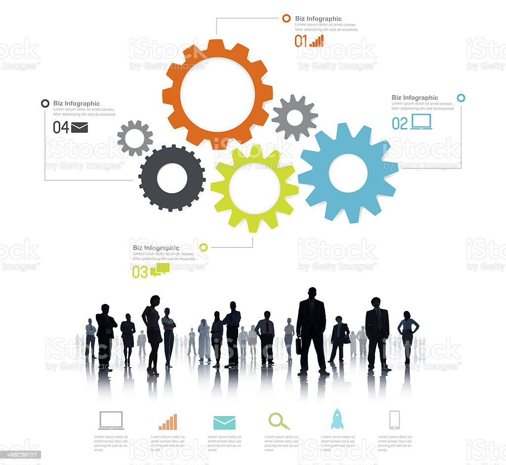 Silhouette of Global Business People Infographic stock photo