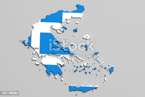 istock Silhouette of Greece map with flag 531188064