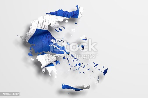 istock Silhouette of Greece map with flag 535420692