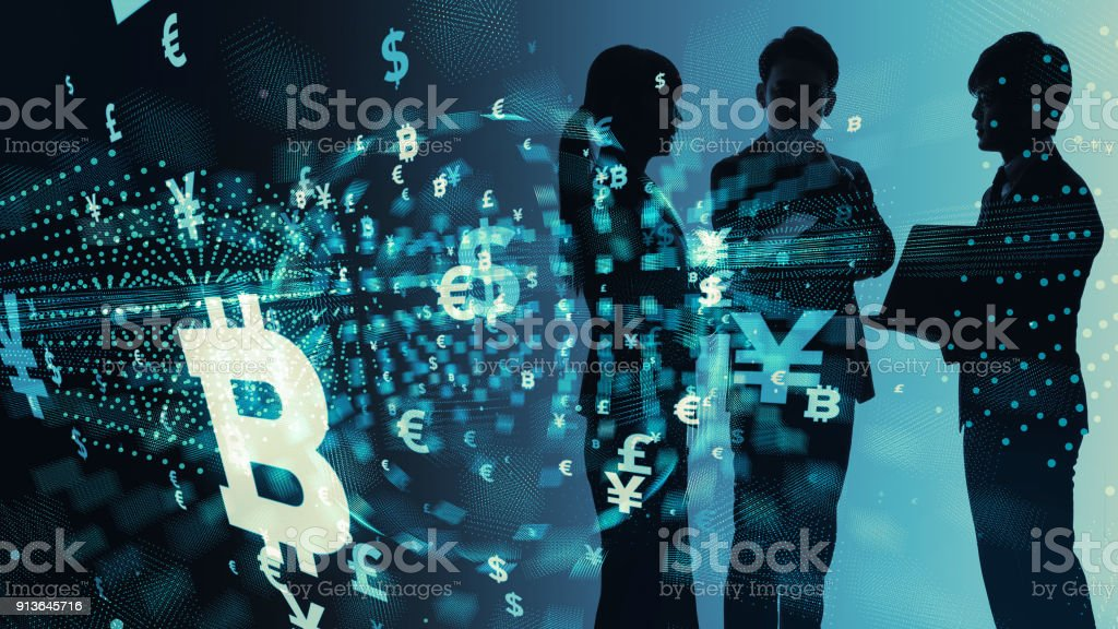 Silhouette of group of businesspeople and financial technology concept. stock photo