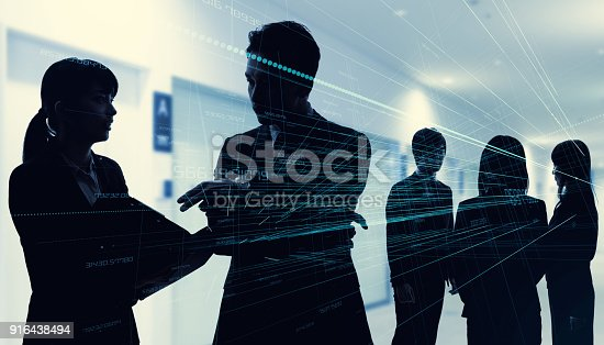 istock Silhouette of group of businessperson. Business network concept. 916438494