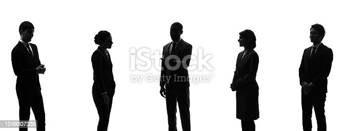 Silhouette of group of businessperson. Teamwork. Social distancing.