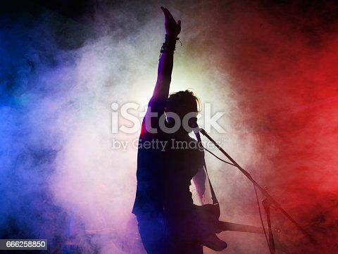 istock Silhouette of guitar player on stage. 666258850