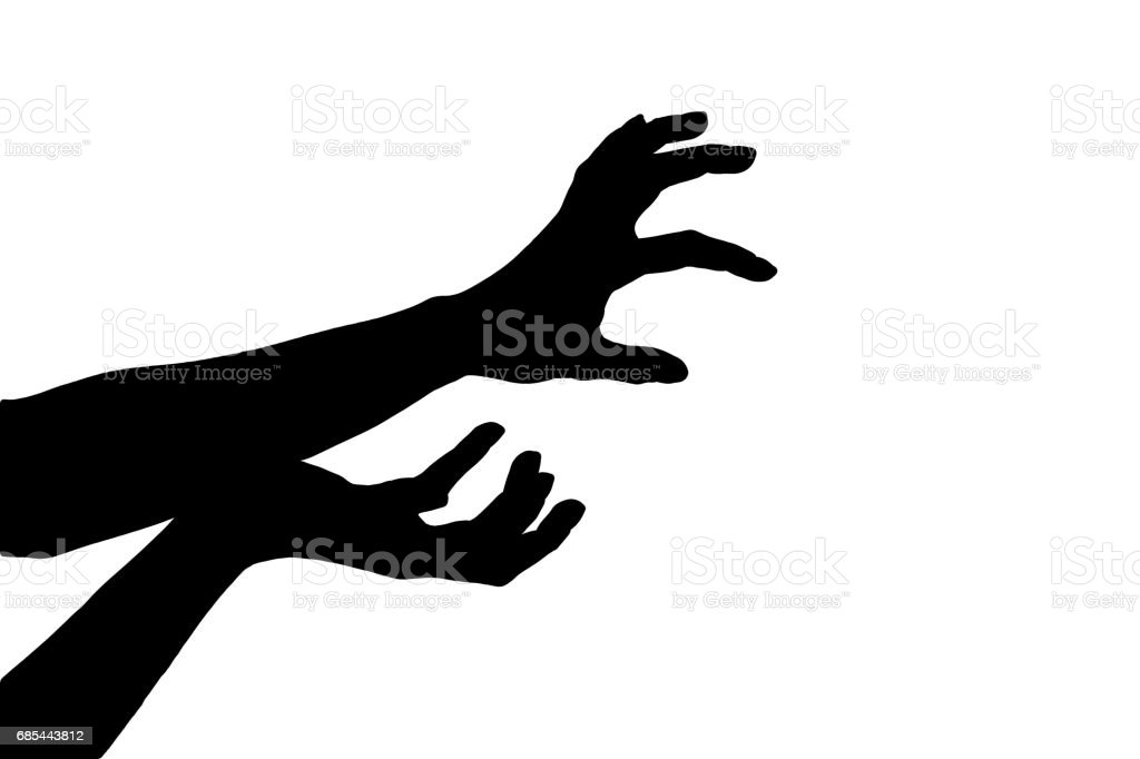 silhouette of hands isolated on white background foto de stock royalty-free