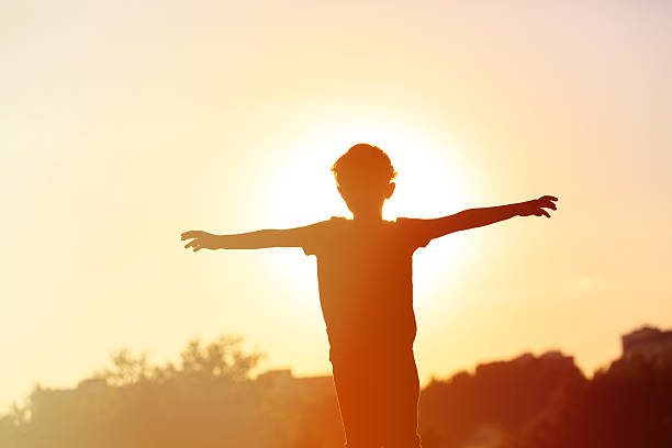 silhouette of happy little boy at sunset stock photo