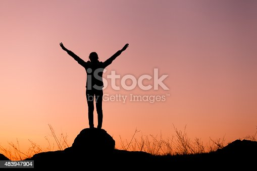 istock Silhouette of happy young woman against beautiful colorful sky. 483947904