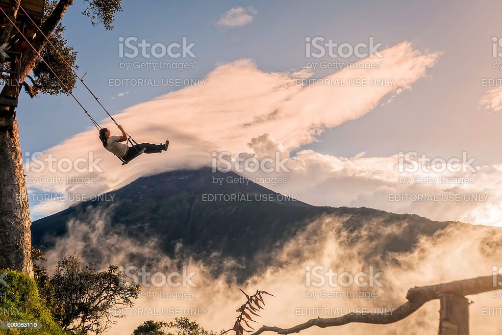 Silhouette Of Happy Young Woman On A Swing stock photo