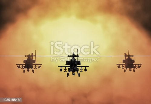 Silhouette of helicopter, soldiers rescue helicopter operations on sunset sky background. Copter in smog. 3D illustration.