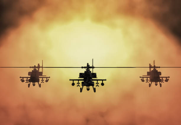 Silhouette of helicopter, soldiers rescue helicopter operations on sunset sky background. Copter in smog. 3D illustration stock photo
