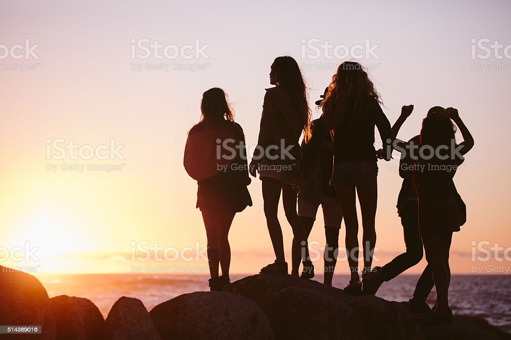 Silhouette of hipster friends enjoying the sunset at beach stock photo