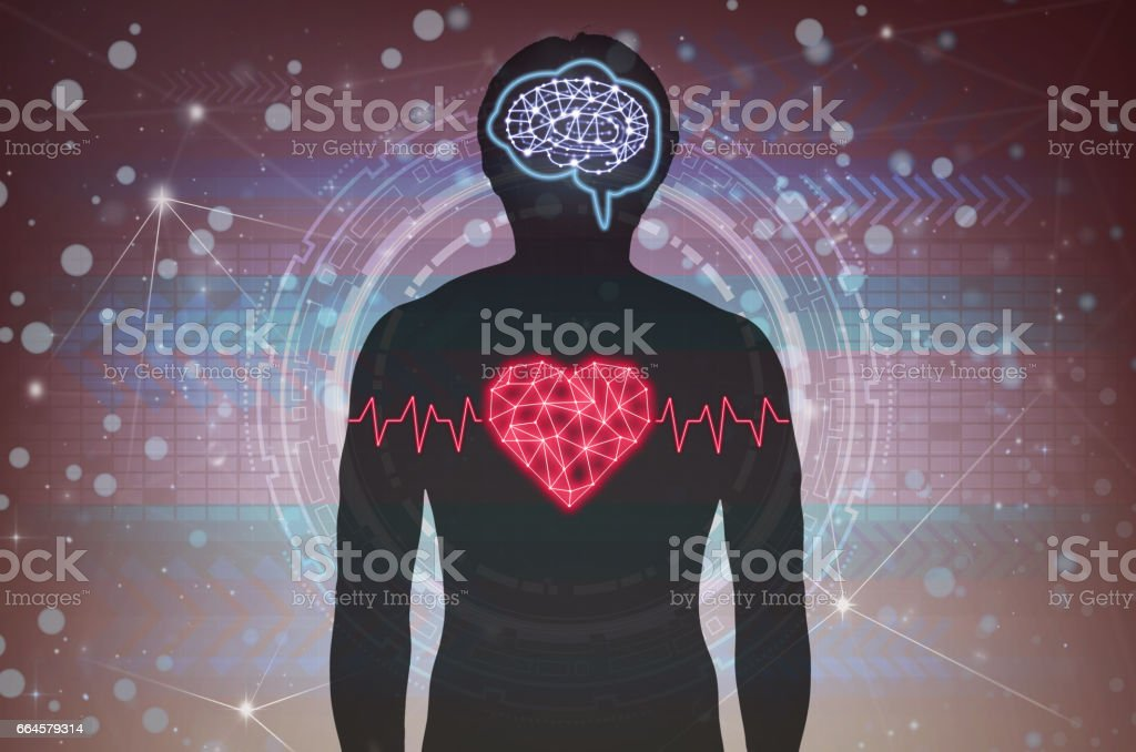 Silhouette of human body with technology line and dot of polygonal shape brain and heart over the Technology connection background, Science healthy and physician education concept stock photo