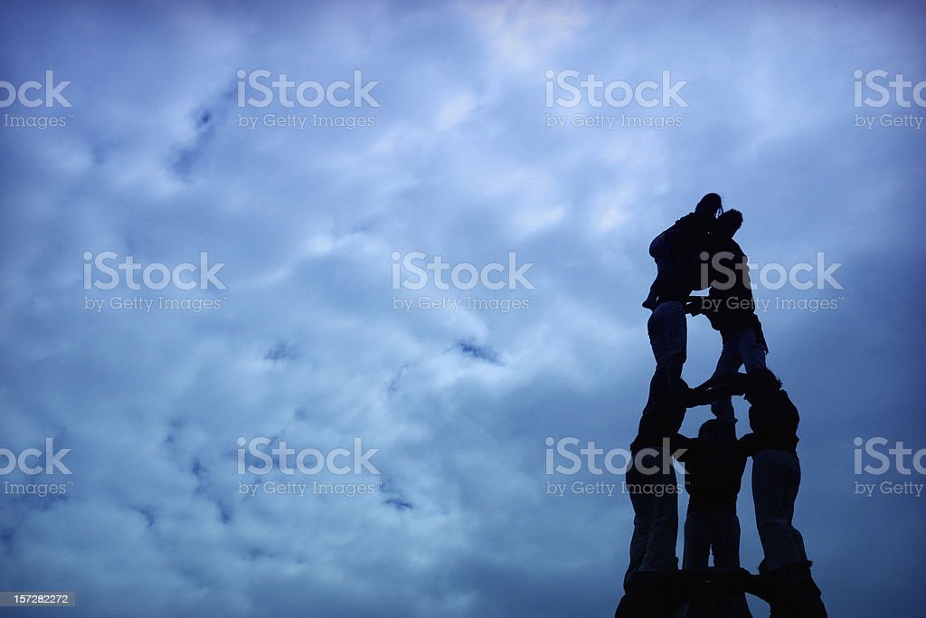 Silhouette of human castle stock photo