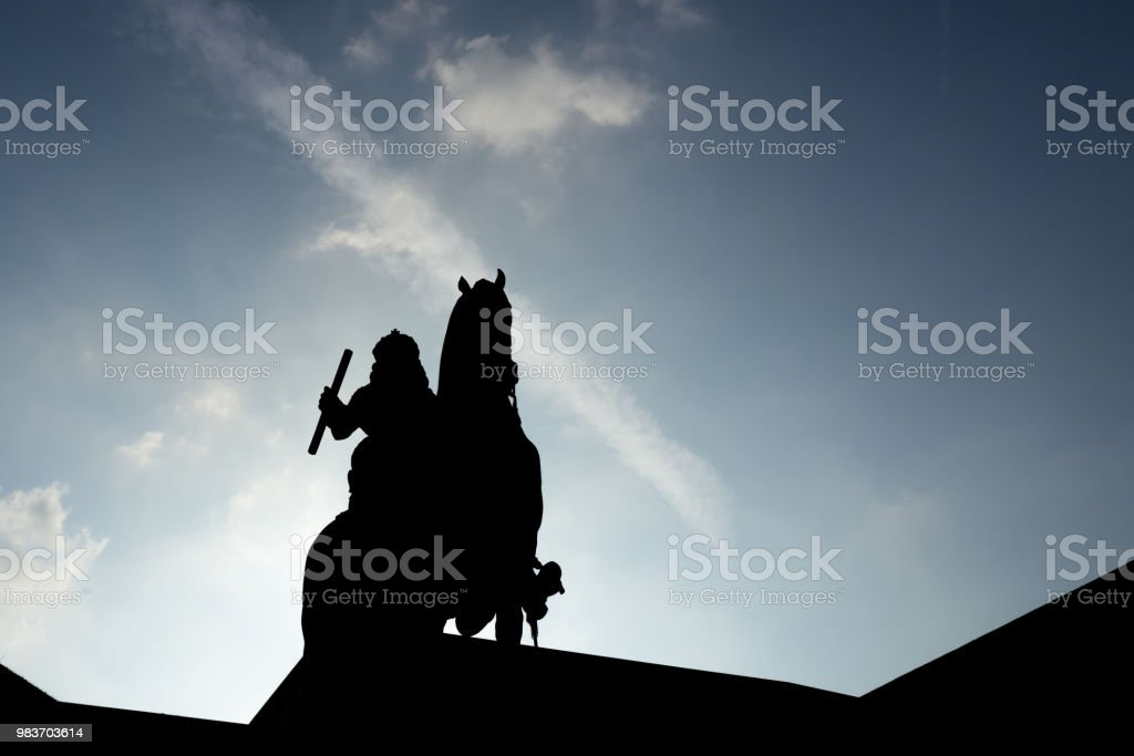 Silhouette of Jan Wellem statue in Duesseldorf stock photo