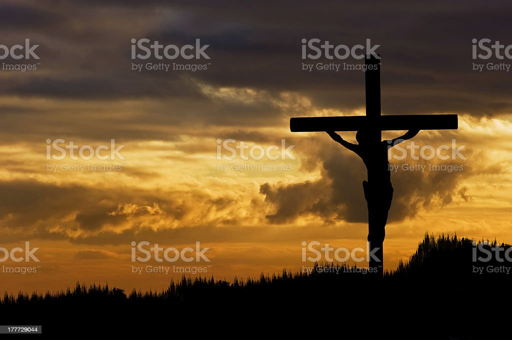 A silhouette of Jesus Christ Crucifixion on Good Friday stock photo