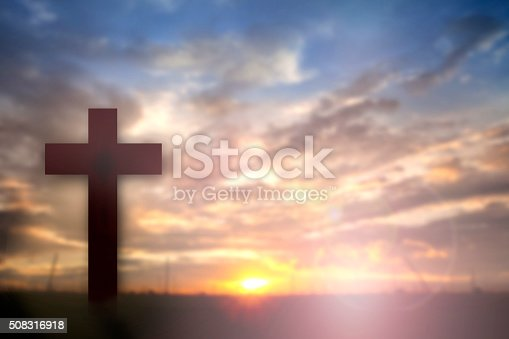istock Silhouette of Jesus with Cross over sunset concept for religion, 508316918