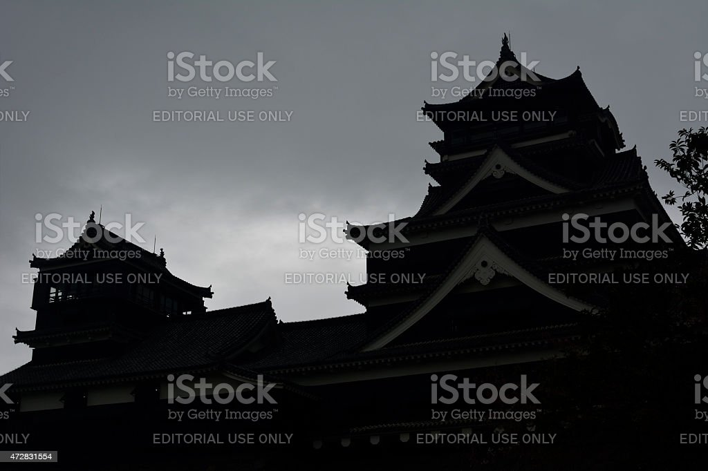 Silhouette of Kumamoto Castle stock photo