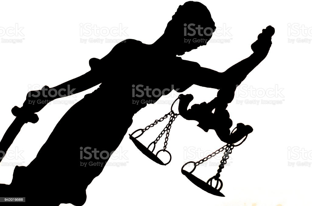 silhouette of Lady Justice stock photo