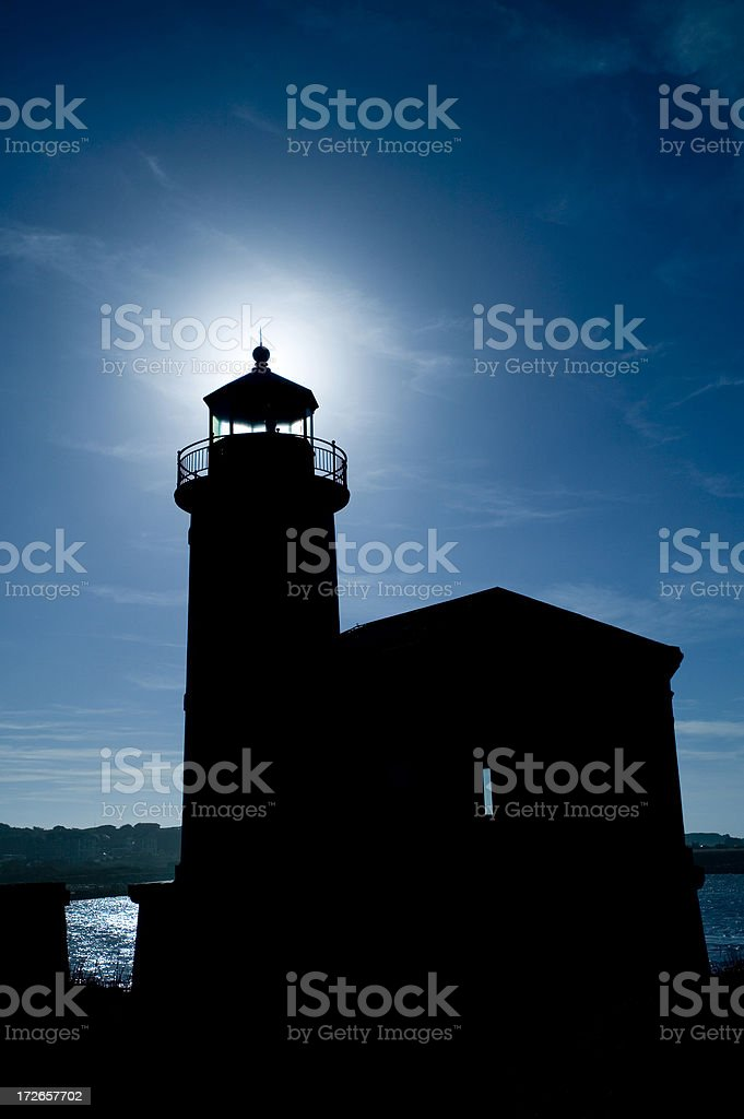 Silhouette of lighthouse royalty-free stock photo