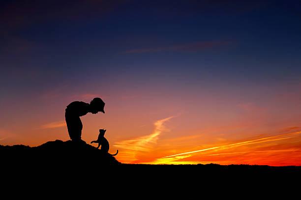 Silhouette of little boy and cat over the sunset picture id462293747?b=1&k=6&m=462293747&s=612x612&w=0&h=apda2aopmt89zcepjxx1nqqqecrjftqcxunfglzln9e=