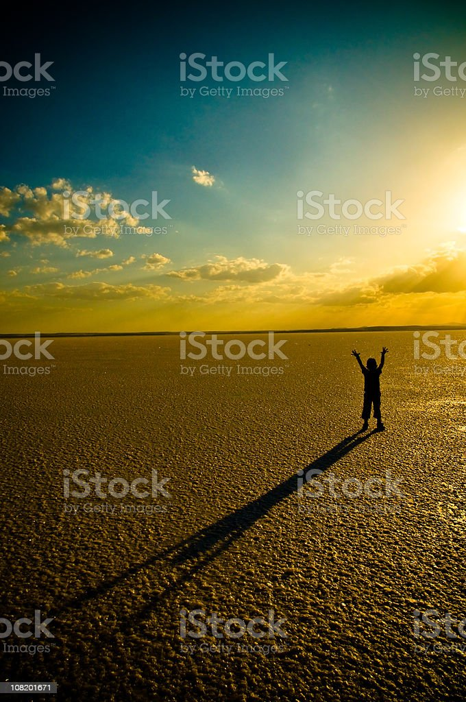 Silhouette of Little Boy with Long Shadow at Sunset royalty-free stock photo