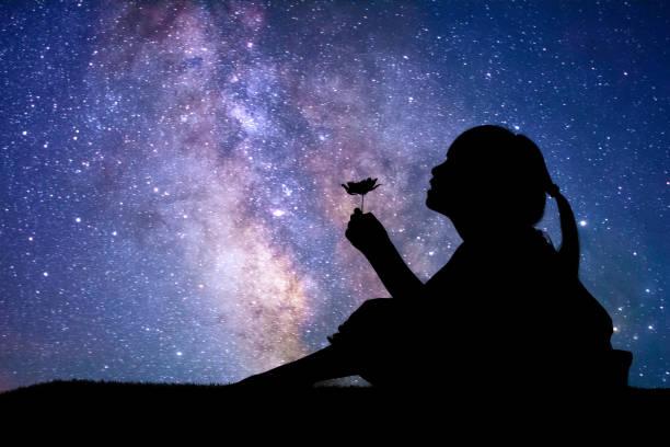 silhouette de petite fille tenant une fleur - astronomie photos et images de collection