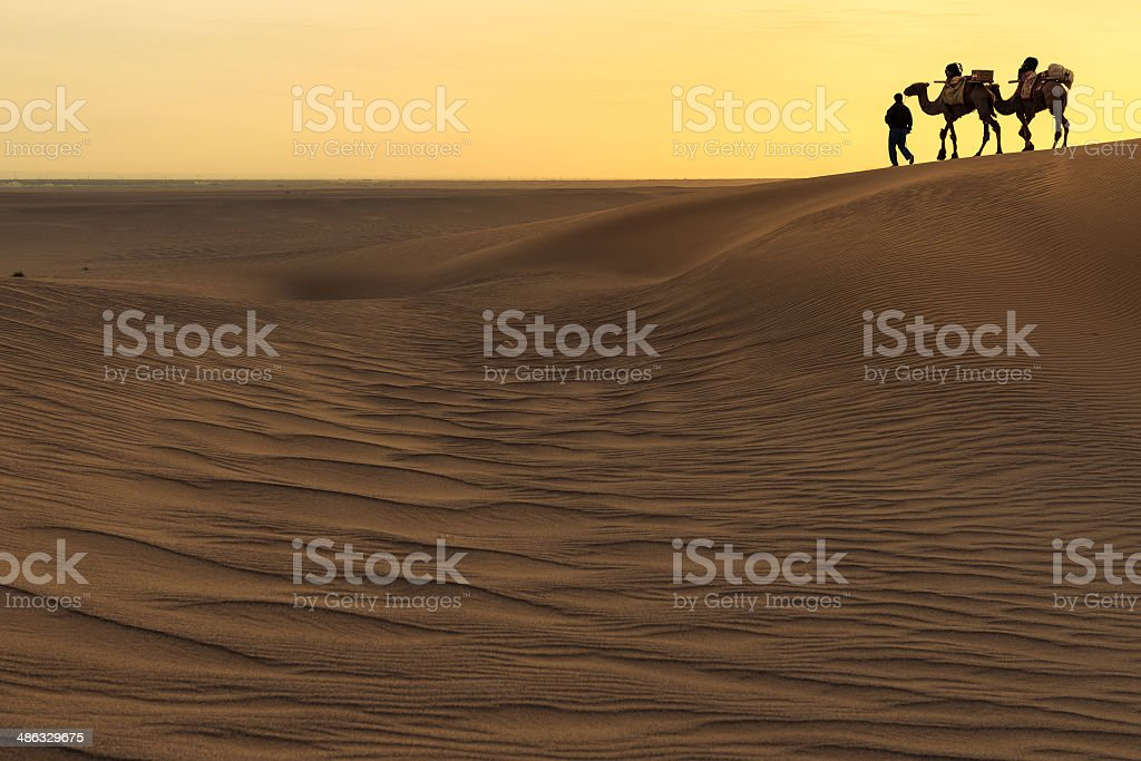 Silhouette of man and two camels at sunset, Dunhuang, China stock photo
