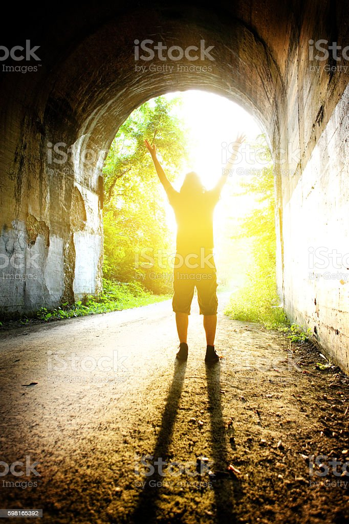 Silhouette Of Man Free At Last stock photo